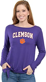 Flying Colors Women's NCAA Officially Licensed Clemson University Tigers   The Ella - Long Sleeve Tie Front Top