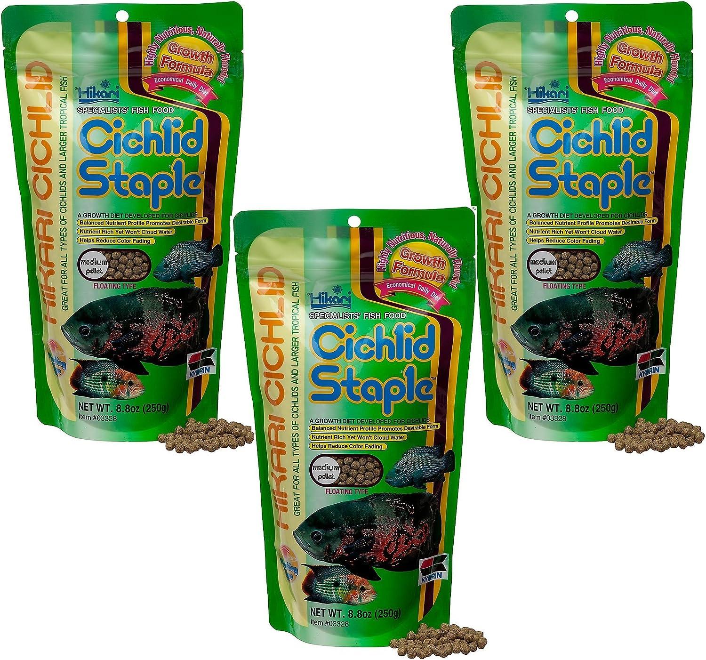 (3 Pack) Hikari 8.8Ounce Cichlid Staple Floating Pellets for Pets, Medium