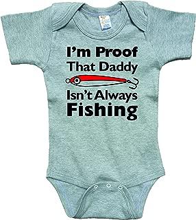 Proof Daddy Isn't Always Fishing Gray Bodysuit Black Text