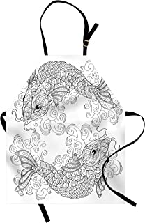 Ambesonne Asian Apron, Traditional Koi Fish Pattern with Ornaments Image Print, Unisex Kitchen Bib with Adjustable Neck for Cooking Gardening, Adult Size, White Grey