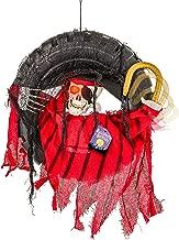 Halloween Haunters Animated Hanging Skeleton Head Pirate in Tire Swing Prop Decoration - 16