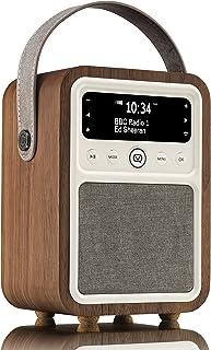 VQ Monty DAB/DAB+ Digital Radio with FM & AM, Bluetooth and Alarm Clock - Real Wood Case Walnut Case