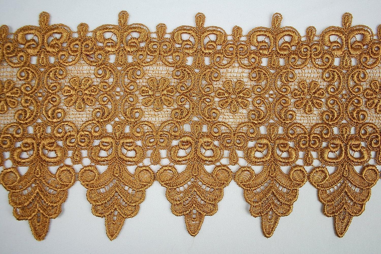 2PCS   Linen Floral Carved 10-14W Swag Applique