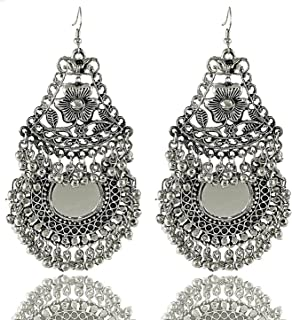 4bc1917ed Aabhu Afghani Designer Vintage Oxidised German Silver Tribal Hoop Dangler  Hanging Mirror Chandbali Earring Antique Jewellery