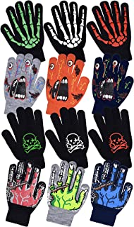 Boys Scary Skeleton & Monster Knit Glove Sets in 6 Creepy Styles and Colors (B6B1568 Monster Red)