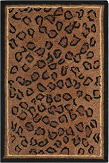 Safavieh Chelsea Collection HK15A Hand-Hooked Black and Brown Premium Wool Area Rug (1'8