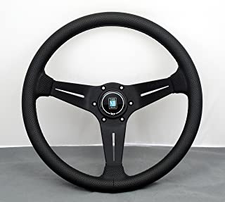 NARDI Steering Wheel - Deep Corn - 350mm (13.78 inches) - Black Perforated Leather with Black Stitching - Black Spokes - Type A Horn Button - Part # 6069.35.2191_BlackHB