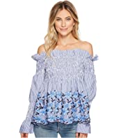 ROMEO & JULIET COUTURE - Off the Shoulder Striped and Embroidered Blouse
