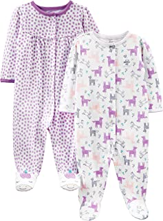 Baby Girls' 2-Pack Cotton Snap Footed Sleep and Play