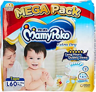 MamyPoko Extra Dry Tape Diapers, L, 60 Counts