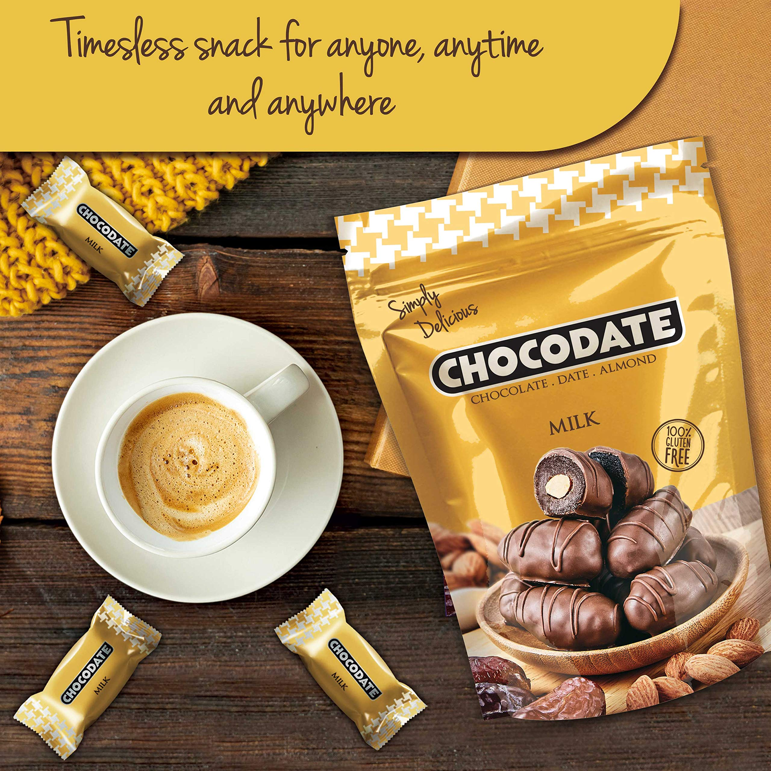 Chocodate Milk | Exquisite Bite Sized Delicacy | Handmade Treat - Rich Silky Chocolate - Velvety Arabian Date - Golden Roasted Almond - Perfect Snacking - 250gms