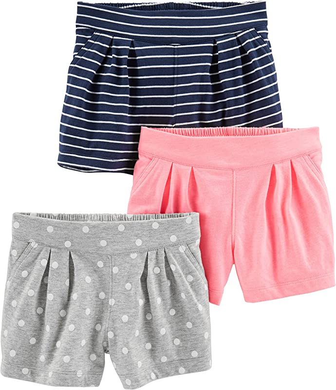 Simple Joys By Carter S Toddler Girls 3 Pack Knit Shorts