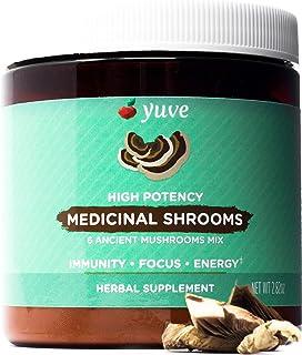 Yuve 6 Organic Mushroom Extract Powder - Magic Blend of Reishi, Chaga, Lions Maine, Turkey Tail, Maitake, Cordyceps - Add ...