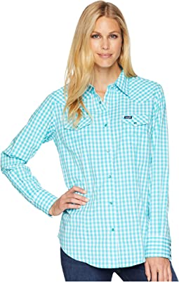 Long Sleeve Woven Gingham Snap