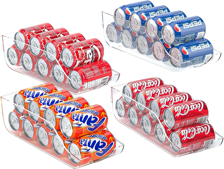 Soda Pop Can Dispenser for Refrigerator, Canned Drink Holder Storage Bin,Clear Plastic Beverage Canned Food Storage Rack for Freezer, Countertop, Cabinets, Pantry, 4 Pack Fridge Organizer Bins Vowupt