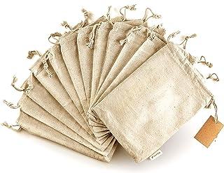 Organic Cotton Reusable Produce Bags - Small 5x7 - 12 Pcs Biodegradable Eco-Friendly Bulk Bin Bags for Food - Sachet Bags ...