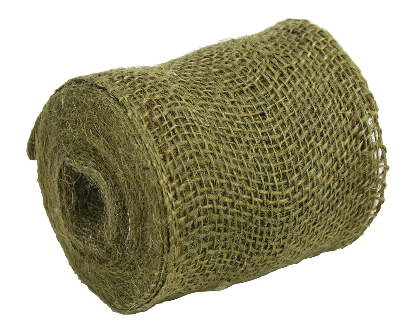 Kel-Toy RNW04-09 Burlap Ribbon with Woven Wired Edge, 4 x 10 yd, Olive