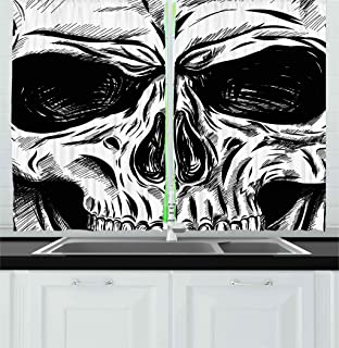 Ambesonne Halloween Kitchen Curtains, Gothic Dead Skull Face Close up Sketch Evil Anatomy Skeleton Illustration, Window Drapes 2 Panel Set for Kitchen Cafe Decor, 55