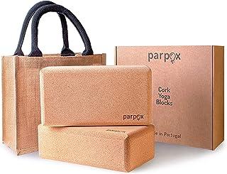 Zestaw z korkiem do jogi premium | 100% naturalny i trwały materiał korkowy | zawiera torbę do przechowywania i przenoszen...