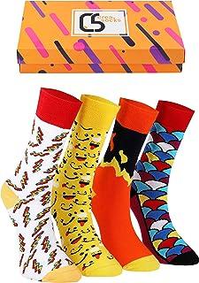 CREA SOCKS, Creasocks - Calcetines unisex coloridos para hombre y mujer, con caja de regalo de 7 a 11 (fuego)