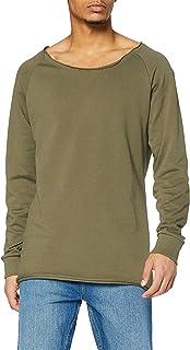 Urban Classics Men's Long Open Edge Terry Crewneck Sweatshirt