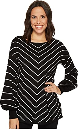 Long Sleeve Chevron Intarsia Sweater
