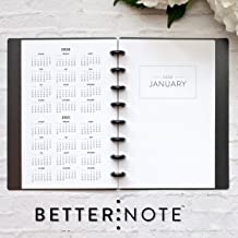 BetterNote 2020 Monthly Calendar for Disc-Bound Planners, Fits 8-Disc Circa Junior, Arc, TUL, Half Letter Size 5.5