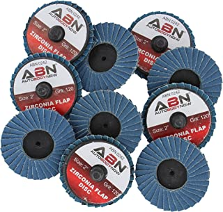 ABN 2in T27 120 Grit High Density Zirconia Alumina Flat Flap Disc Roloc Roll Lock Grinding Sandpaper Wheels 10 PK