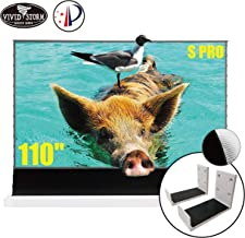 VIVIDSTORM S PRO Ultra Short Throw Laser Projector Screen,White Housing Motorized Floor Rising Screen 110 inch Ambient Light Rejecting Screen with a Set of White Wall Brackets VWSDSTUST110H