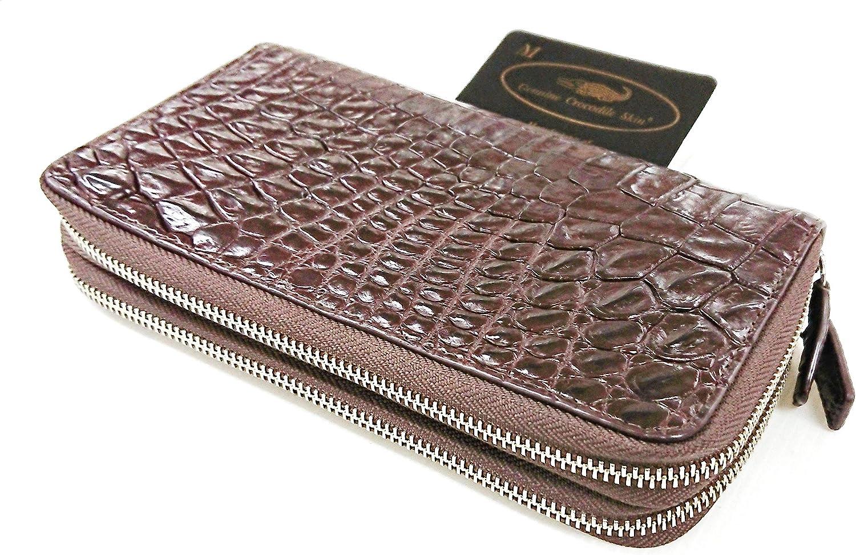 Genuine Crocodile Alligator Belly Skin Leather Zip Around Wristlet Dark Brown Wallet