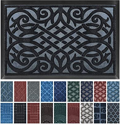 gb Home Collection Premium Door Mat | Black 18 x 30 inches | Indoor Outdoor Doormat w Nonslip Rubber Back | Water Absorbent Entryway Mat | Easy to Clean Bootscraper | Low Profile Entry Mat Grey