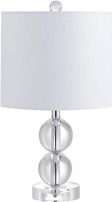 JONATHAN Y JYL2057A Brooklyn - Lámpara de mesa LED de cristal de 44,5 cm, contemporánea, transitoria, tradicional, glamurosa para dormitorio, sala de estar, oficina, dormitorio universitario, mesa de café, librería, transparente