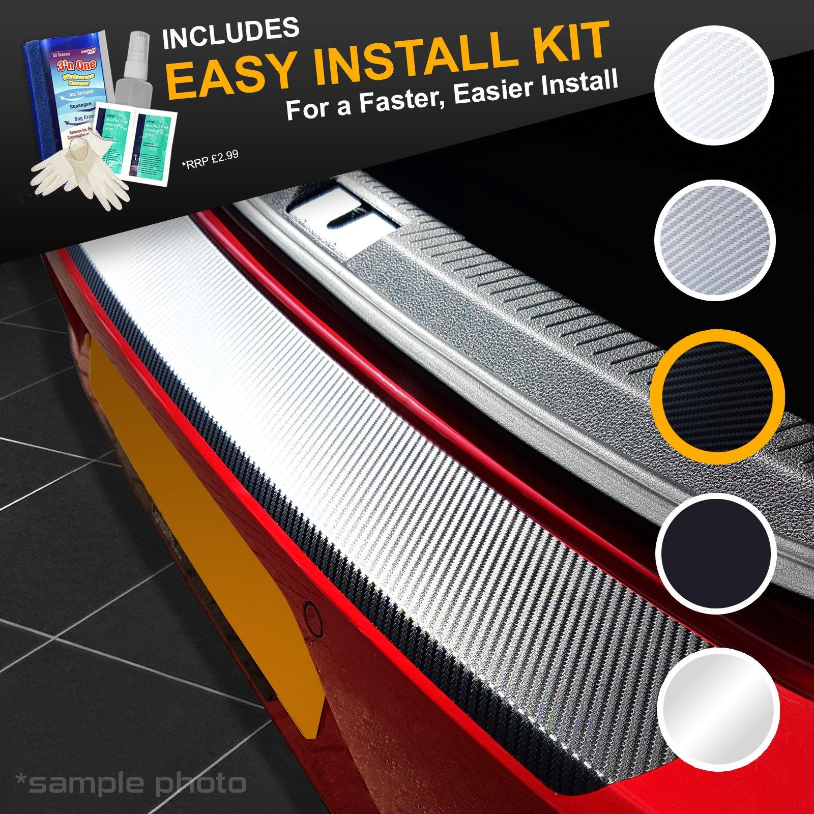 carmats4u Black Carbon Vinyl Bumper Lip Protector//Self Adhesive Easy Install Kit Included
