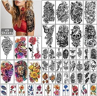 49 arkuszy czarny pół rękaw wodoodporny tymczasowy tatuaż dla dorosłych mężczyzn i kobiet, 3D kwiat zwierząt fałszywe nakl...