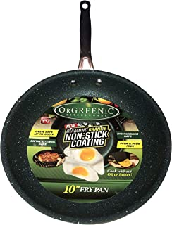 OrGREENiC Diamond Granite 10 Inch Fry Pan Non-stick Ceramic Coating, Fry Skillet, Saute Pan (10 inch round, No Lid)