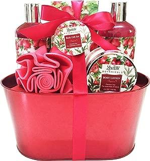 Spa Gift Basket – Bath and Body Set for Women/Girls - Pomegranate Fragrance, Bath Gift Basket Includes Shower Gel, Bubble Bath, Body Lotion, Bath Salt and Bath Puff
