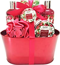 Lovestee Gift Bath and Body Gift Set, Aromatherapy Spa Gift Basket for Men Woman with Natural Pomegranate Scent by Lovestee includes Shower Gel, Bubbl