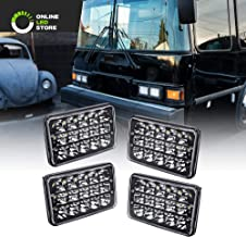 4pc Universal 4x6 45W LED Rectangular Sealed Beam Headlight Assembly with Black Housing [H4 Socket] [High/Low Beam] [IP67] (H4651 H4652 H4656 H4666 H6545 Replacement) - for Jeep Wrangler & More