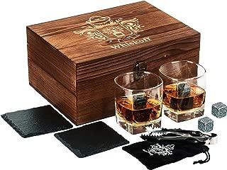 Whiskey Glass Set of 2 – Whiskey Stones Gift Set – Scotch Bourbon Glasses..