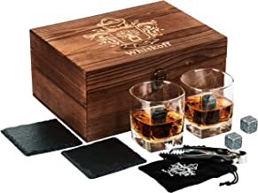 Square Whiskey Glass Set of 2 - Whiskey Stones Gift Set - Scotch Bourbon Glasses - Whisky Rocks Chilling Stones in Wooden ...