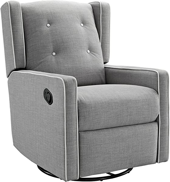 Baby Relax Mikayla Swivel Glider Recliner Chair Gray Linen