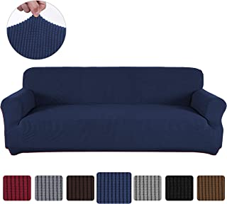 Obstal Stretch Spandex Sofa Cover, 3 Seat Couch Covers for Living Room, Non Slip Sofa Slipcover with Elastic Bottom, Navy Blue Sofa Couch Coverings Furniture Protector for Dogs, Cats, Pets, and Kids