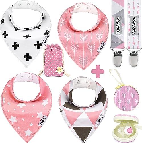 Dodo Babies Baby Bandana Drool Bib Set - 4pc Infant Bibs with 2 Pacifier Clips, Binky Case, Gift-Ready Bag - Soft Abs...
