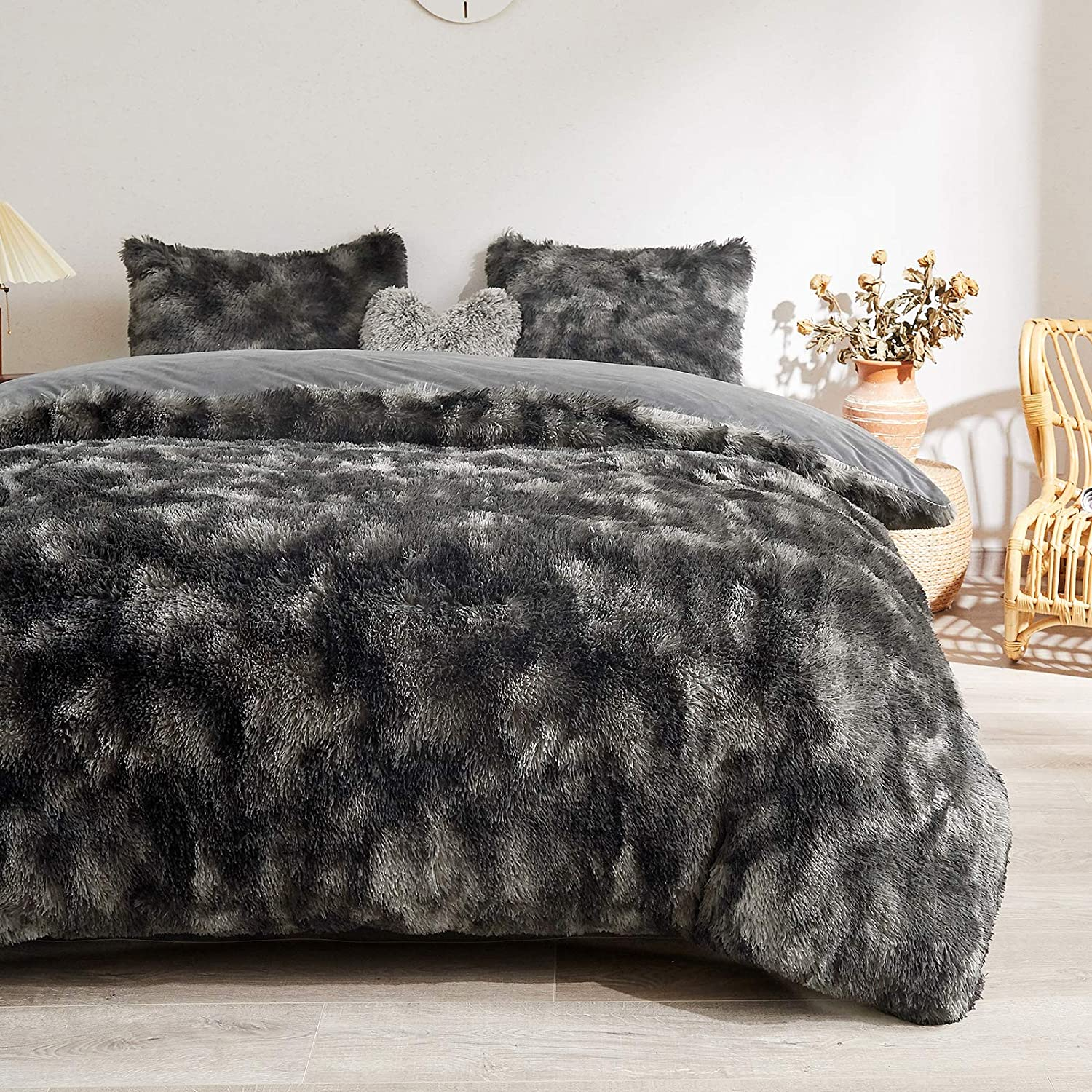 MEGO Fuzzy Ranking TOP11 Faux Fur Ranking TOP3 Duvet Cover Shaggy Marble Print Set -