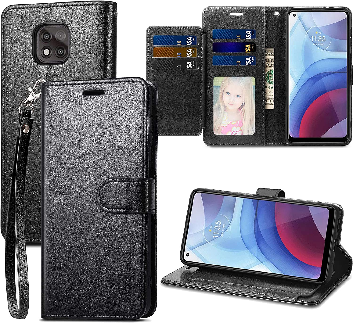 Swoders for Moto G Power 2021 Wallet Case, PU Leather with Card Holder Shockproof Soft TPU Interior Magnetic Closure Full Protection Compatible with Motorola Moto G Power 2021 - Black