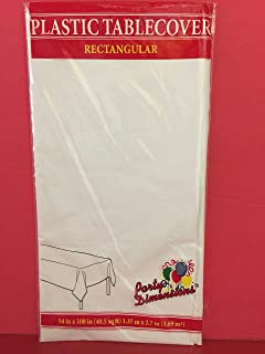 3-PACK DISPOSABLE PLASTIC TABLE COVERS / TABLECLOTHS (WHITE) 54 IN X 108 IN