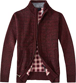 Gioberti Men's Knitted Regular Fit Full Zip Cardigan Sweater with Soft Brushed Flannel Lining