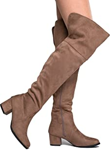 Brandy Over The Knee Boot - Trendy Low Block Heel Suede Thigh High