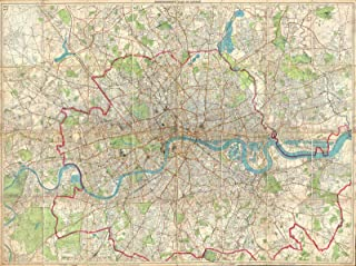 Historical 1899 Bartholomew Fire Brigade Map of London, England - 18 x 24in Fine Art Print - Antique Vintage Map
