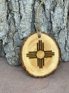 New Mexico NM ZIA wood burned Christmas Ornament